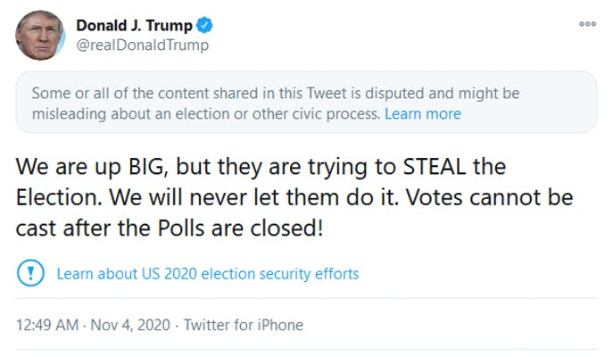 Trump Twitter Election tweet