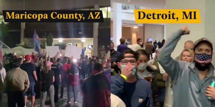Trump supporters opposite chants
