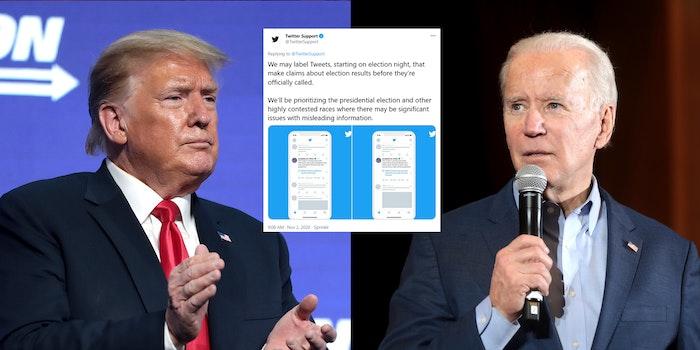 Twitter Election Misinformation Labels Trump Biden