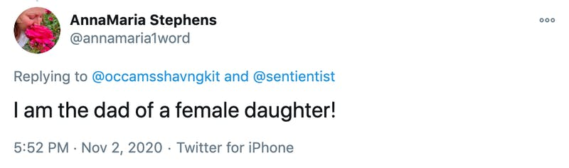 I am the dad of a female daughter!