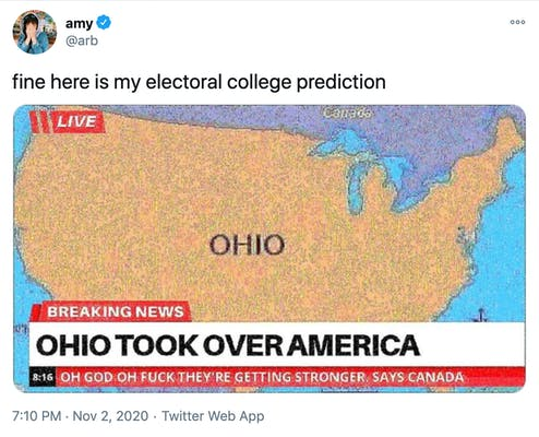 """""""fine here is my electoral college prediction"""" A map of the US covered in grainy yellow and labelled Ohio with the BBC news style caption """"Ohio took over America"""""""