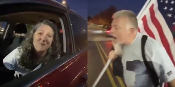 armed trump supporter yells at woman