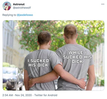 A stock photo of two white men with their arms around each other taken from behind. One shirt says 'I sucked his dick' and the other says 'While I sucked his dick'