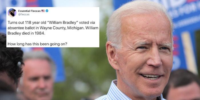 A tweet next to Joe Biden