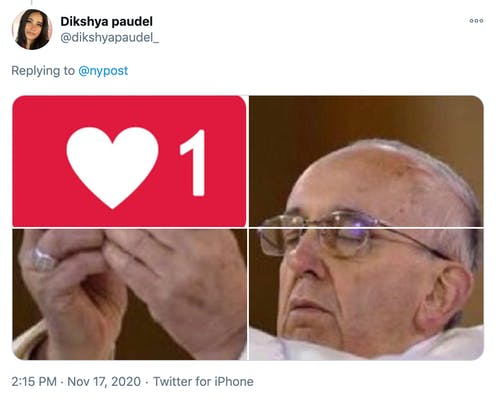 image of the pope holding up an instagram like like a sacrament