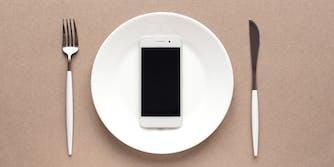 phone on dinner plate