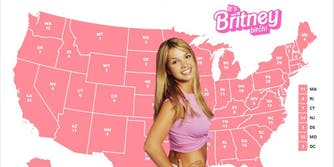 Britney standing in from of an all pink electoral college map