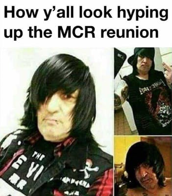 Middle aged man with side swept fringe and dark clothes, ready for the My Chemical Romance reunion