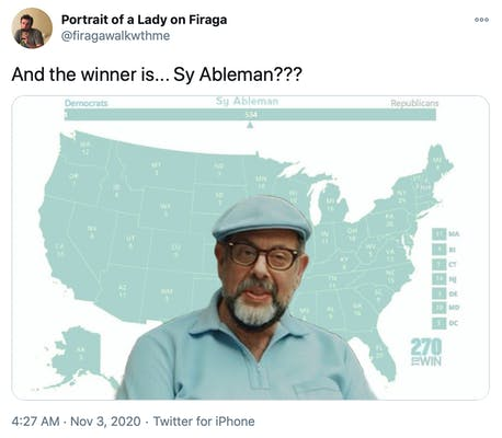 """""""And the winner is... Sy Ableman???"""" picture of Sy Alberman dressed in mint green with the map behind coloured the same"""