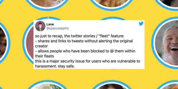 A tweet over a background of Twitter's Fleet users