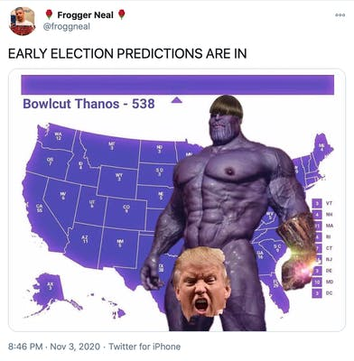 """""""EARLY ELECTION PREDICTIONS ARE IN"""" image of the electoral college map coloured purple with a naked toupee wearing Thanos in front of it, a picture of Donald Trump's head looking angry in front of his crotch"""