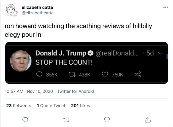 hillbilly elegy ron howard stop count
