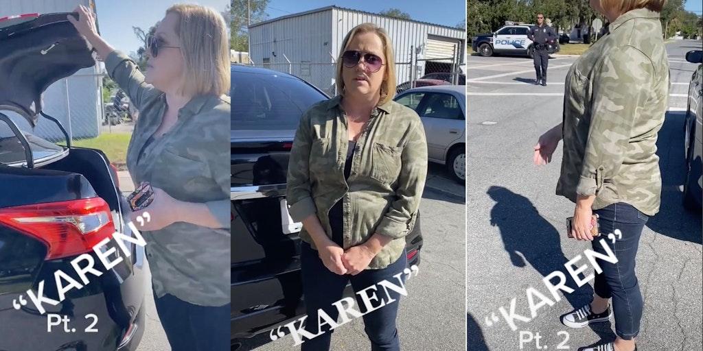 karen stealing anti-trump signs