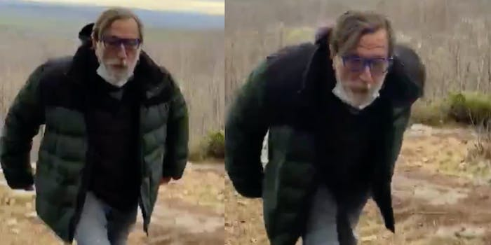 man spits hikers video