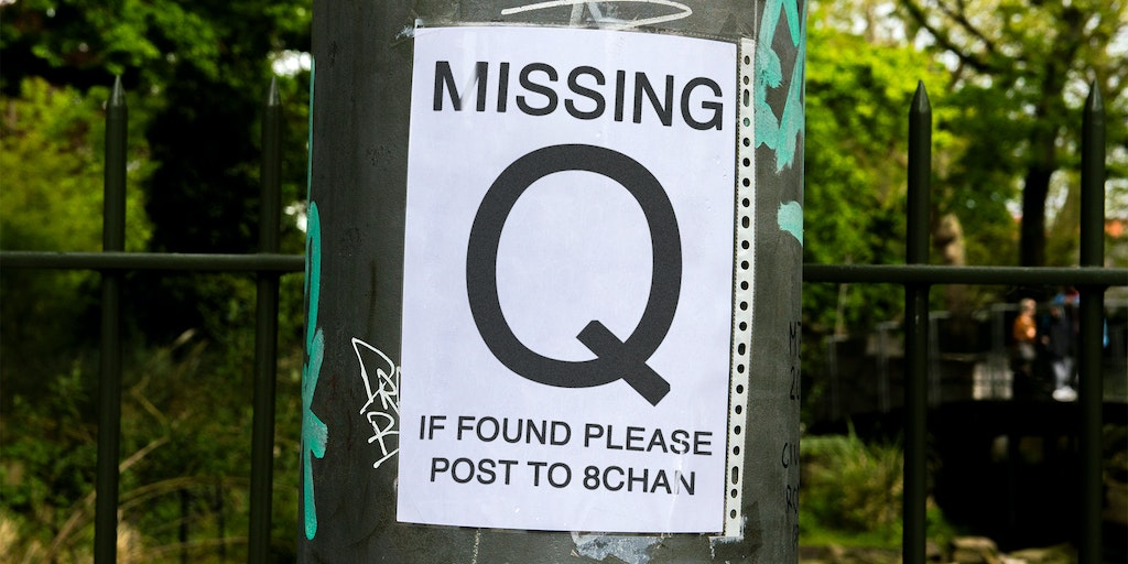 """missing Q sign on post """"if found please post to chan"""""""