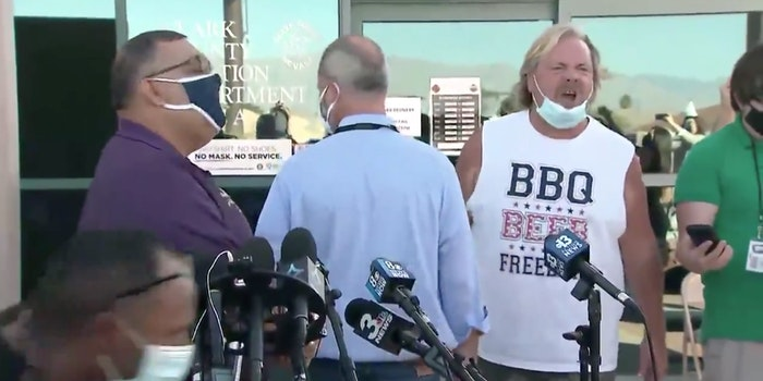 A man yelling at a press conference