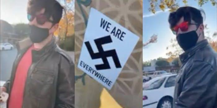 A man placing Nazi stickers around California