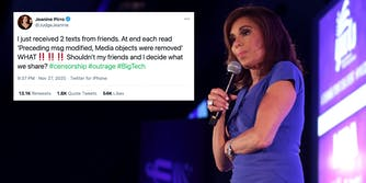 Fox News host Jeanine Pirro next to a tweet
