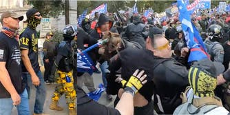 proud boys beat up woman sacramento protest