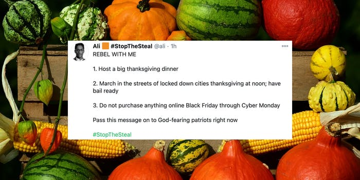 A tweet about rebelling on Thanksgiving