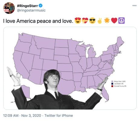 """""""I love America peace and love. Smiling face with heart-shaped eyesHeart with ribbonSmiling face with sunglassesVictory handGlowing starRed heartPeace symbol"""" image of the electoral college map all in purple with a black and white photo of Ringo Starr holding his arms out in front of it"""
