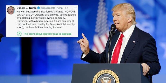 A tweet next to President Donald Trump