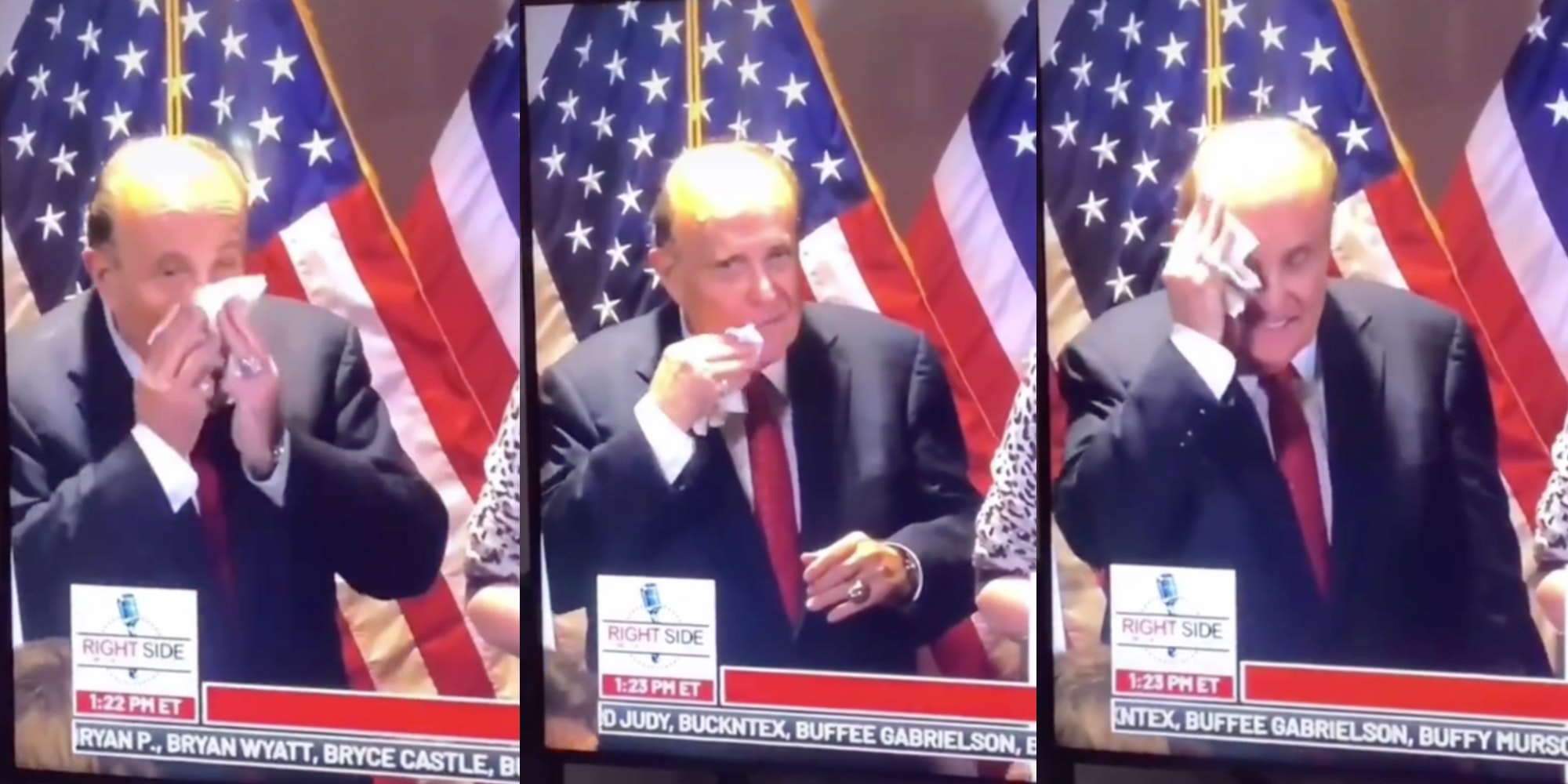 rudy giuliani blowing nose wiping face video