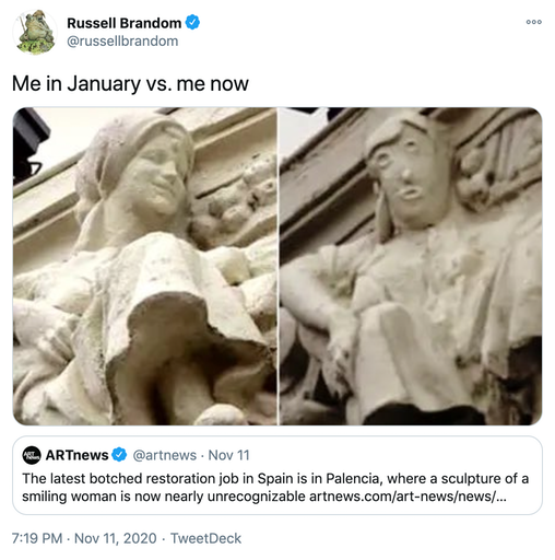 """""""Me in January vs. me now """" a photograph of the original, realistic sculpture next to the restored version with it's blobby abstract features"""