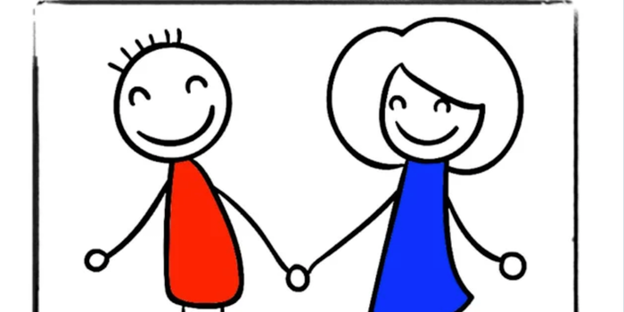 A male stick figure in red and a female stick figure in blue hold hands