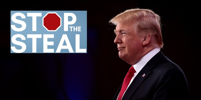 Donald Trump next to the 'Stop The Steal' logo