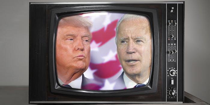 donald trump and joe biden on an old television set