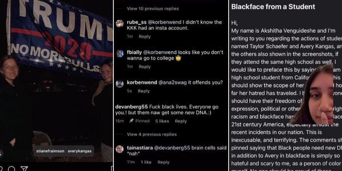 Students blackface Trump flag TikTok