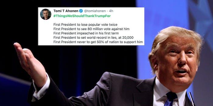 A tweet next to Donald Trump