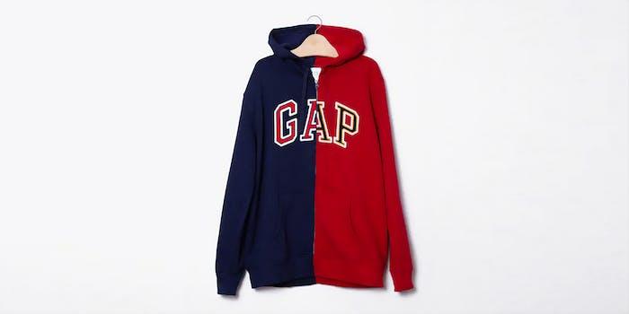 GAP half blue, half red hoody