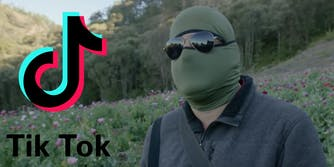 The TikTok logo next to a drug cartel member
