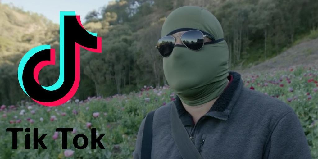 The TikTok logo next to a drug cartel member