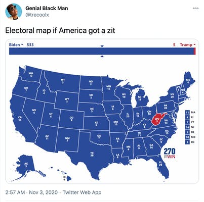 """""""Electoral map if America got a zit"""" image of the electoral college all in blue except for West Virginia which is red"""