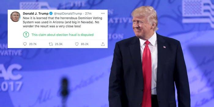 Donald Trump next to a conspiratorial tweet