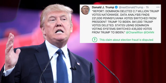 President Donald Trump next to a false tweet about election fraud