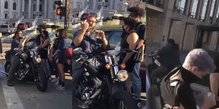 Trump supporter drives through protesters on motorcycle