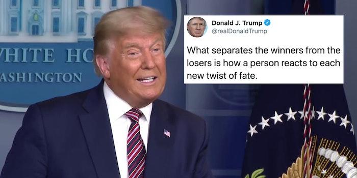 President Donald Trump next to an old tweet