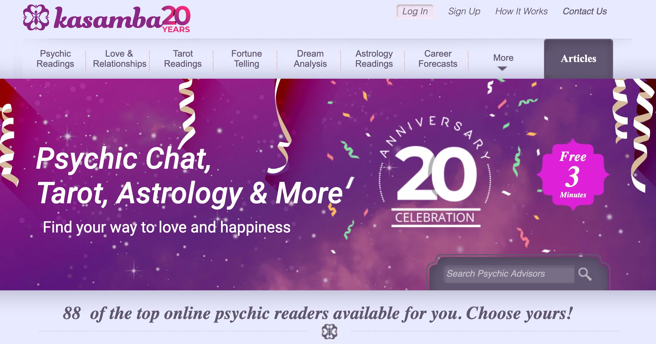 Screenshot of kasamba's homepage that shows just how many types of astrology reports and readings the site offers.