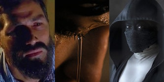 Jack from tv show Lost, water streaming down a woman's eye, hooded Sister Justice from tv show Watchmen