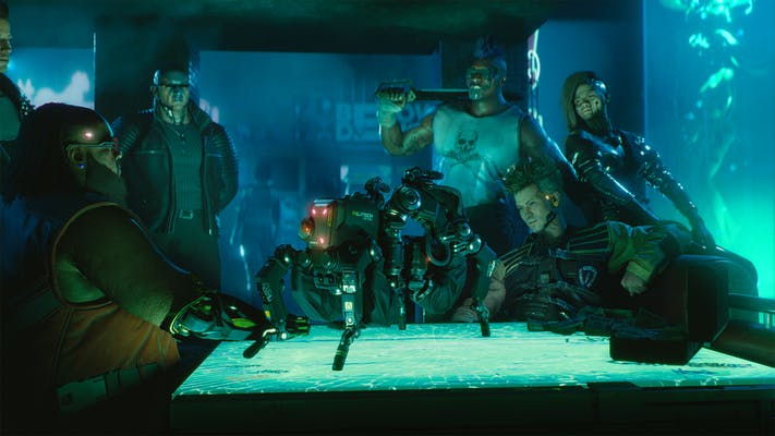 Six cybernetically augmented characters look at a four-legged military drone in a Cyberpunk 2077 screenshot.