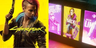 """A side-by-side comparison of the Cyberpunk 2077 cover and the controversial """"Chromanticore"""" in-game trans model."""