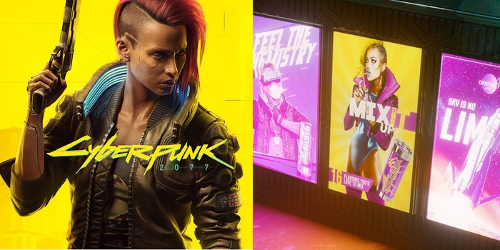 "A side-by-side comparison of the Cyberpunk 2077 cover and the controversial ""Chromanticore"" in-game trans model."