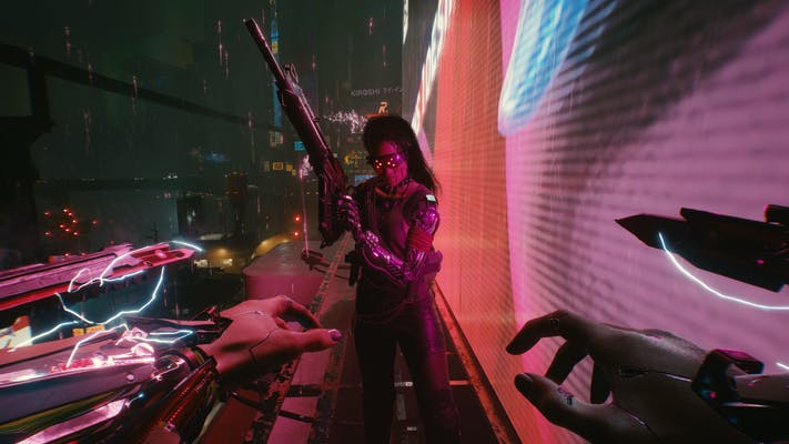 A first-person view of a female character with cybernetic augments seemingly targeting another in Cyberpunk 2077.