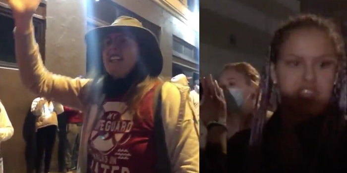 Two of the viewers who ignored calls to wear a mask at a concert for the homeless community