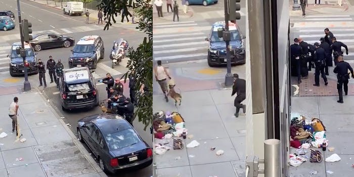 Video shows cops setting a dog loose on homeless woman after firing shots