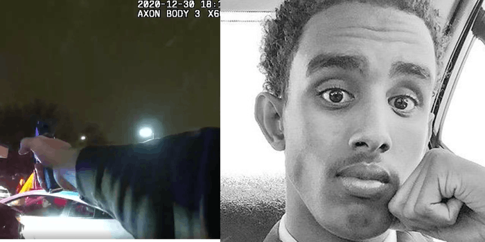 (L) Bodycam footage shows cop pointing his gun at Dolal Idd moments before fatally shooting him (R) Dolal Idd